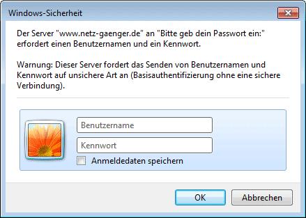 Beispiel einer .htaccess-Passwortabfrage