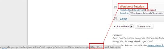 Wordpress Cat ID auslesen