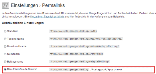 Permalinks reparieren in WordPress
