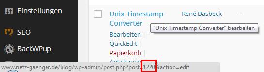 Seiten ID finden in WordPress