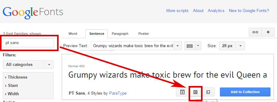 Google Fonts: Schriftart suchen und quick use