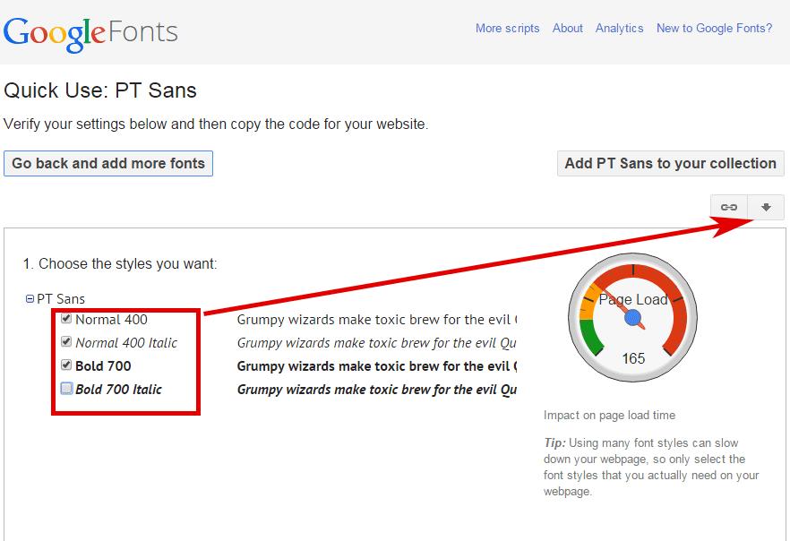Google Fonts: Schnitte auswählen