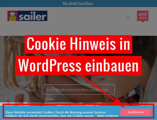Cookie Hinweis in WordPress einbauen