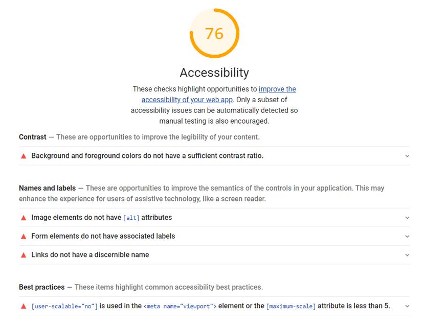 Barrierefreiheit-Check von Google Lighthouse